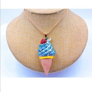 Jewelry - Crystal Blue Ice Cream Cone Necklace